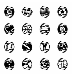 Fire sport balls icon set vector image