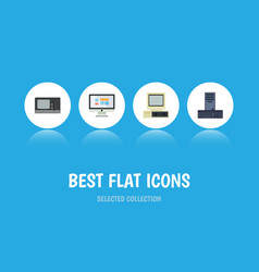 Flat icon laptop set of computer display vintage vector