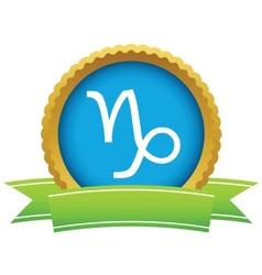 Gold Capricorn logo vector image vector image