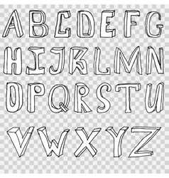 Hand drawing alphabet set in vector image