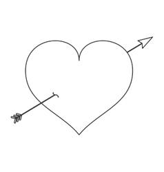 love heart shape romantic icon vector image