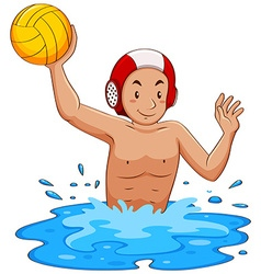 Man playing water polo in the pool vector