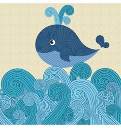 Patterned whale on the waves vector