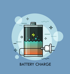 Rechargeable battery with liquid inside and plug vector