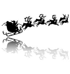 Santa claus drives in a sleigh vector