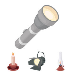 Searchlight kerosene lamp candle flashlight vector