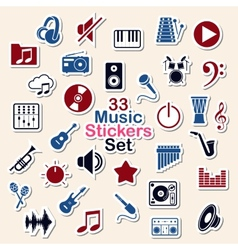 Set of music icon stickers vector image