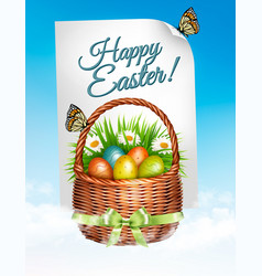 Spring easter background easter eggs in basket vector
