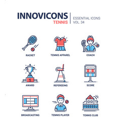 tennis - modern line design icons set vector image
