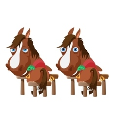 Two horses in stable stand back and turn around vector