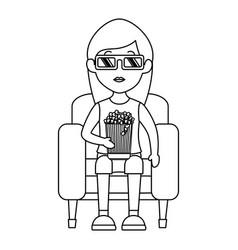 woman on sofa eating pop corn vector image