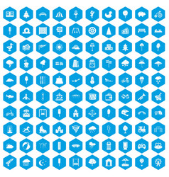 100 childrens park icons set blue vector