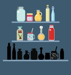 Flat set of different shape jars and bottle vector