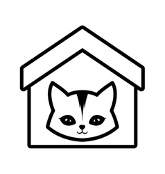 Cat feline curious small house pet outline vector