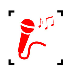 Microphone sign with music notes  red icon vector