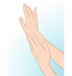 Beautiful female hands and manicure body care vector