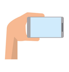 hand with mobile device modern vector image