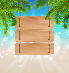 Wooden board for your message summer background vector