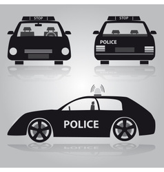 Police car from front back and side view eps10 vector