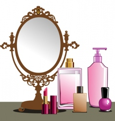 Makeup and mirror vector