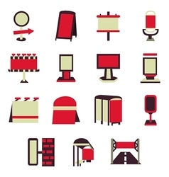 Advertising constructions red flat icons vector