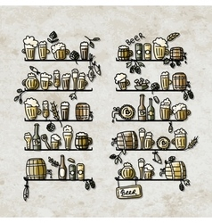 Shelves with beer icons sketch for your design vector