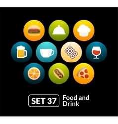 Flat icons set 37 - food and drink collection vector