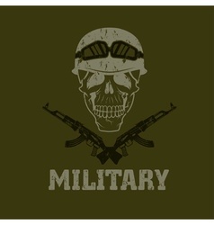 Grunge military emblem with skull and automatic vector