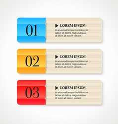 Color numbered option banners on light background vector