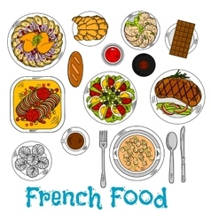 Sketch of worldwide popular french dishes vector