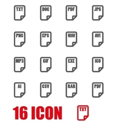 grey file type icon set vector image
