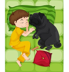 Boy in yellow pajamas sleeping with dog vector