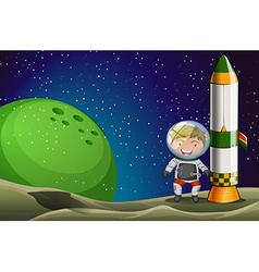 A man in the space standing beside the rocket vector