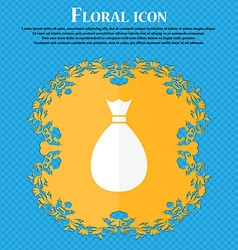 Bag icon Floral flat design on a blue abstract vector image