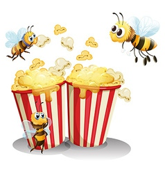 Bees and popcorn vector image vector image