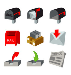 Box mail mailbox parcel carton letter vector