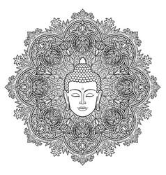 Buddha mandala coloring page vector