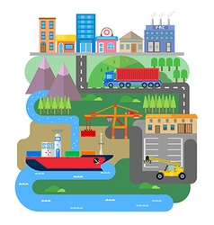 Cargo or shipping from the ship to the city vt vector