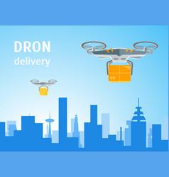 cartoon drone technology delivery service business vector image vector image