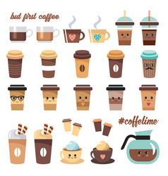 Cute coffee icons set on a white background vector