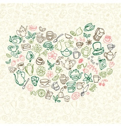 doodle tea icons vector image