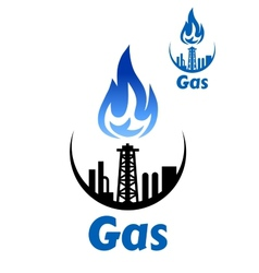 Gas processing factory icon or emblem vector