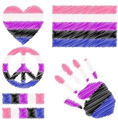 Genderfluid pride design elements vector