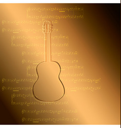 Gold gradient background - guitar and music notes vector