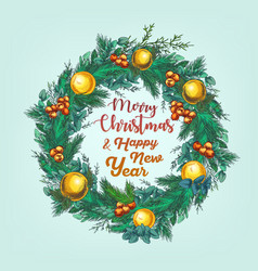 greeting card with cristmas wreath vector image vector image