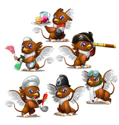 Griffins in six different characters vector