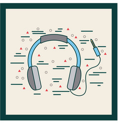 Headphones with cord poster image vector