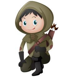 Hunter in green costume vector