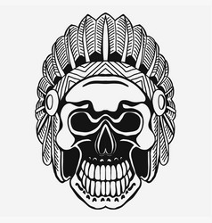 Indian skull with tribal feather hat dead chief vector