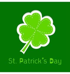 Paper clover leaf dash line happy st patricks day vector